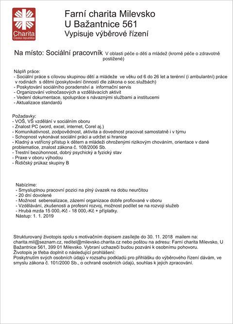 Výběrové řízení charita Milevsko