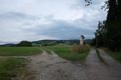 11 - Pohled od zámecké zahrady v Českém Krumlově směrem na Křížový vrch