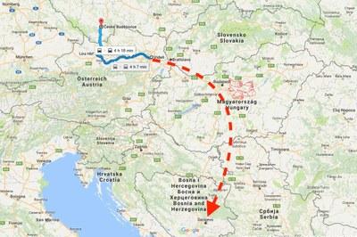 Odjezd vlakem do Vídně a odtud letadlem do Sarajeva